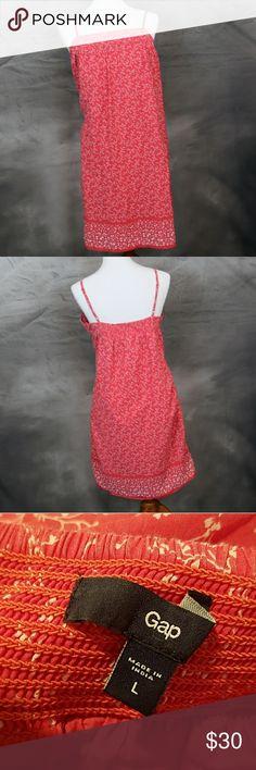 GAP pink & white floral sundress 100% cotton L GAP pink & white floral sundress 100% cotton L. Fully lined, adjustable straps, side pockets. Excellent condition. GAP Dresses Midi