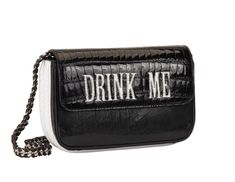 """N°B1769  Hand cut and hand stitched letters - """"DRINK ME"""" - in white python onto black shiny crocodile combined with hand cut and hand stitched letters """"EAT ME"""" in white python onto black lizard (visible when bag is opened). White python on the sides and bottom. Black lizard with white python detail on the back. Hand embroidery by Maison Ravn onto 18th-century black Italian silk on the inside. Black leather inside lining.                  Taille : 21x12x6/7cm"""