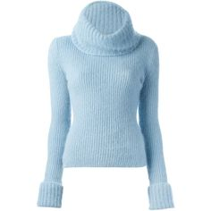 Ermanno Scervino Ribbed Turtle Neck Sweater ($573) ❤ liked on Polyvore featuring tops, sweaters, shirts, jumpers, turtleneck, blue top, shirts & tops, ribbed sweater, turtleneck shirts and blue sweater