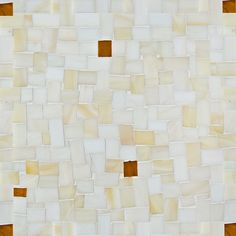 """Coltrane Cream with Gold Miles Artistic Tile: Modular Gloss Mosaic   9-1/2"""" X 9-1/2"""" X 1/8"""" Interlocking Sheet:   Varying shades of creamy white punctuated with accents of gold backed glass, arranged in a mini version of ancient Byzantine modular paving patterns, mesh mounted for ease of installation ."""