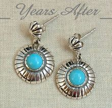 SIGNED Vintage Sterling Silver Turquoise Earrings by RELIOS - MINT!