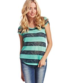 """<p>Make a bold statement when you rock this casual, yet refined, rugby striped tee! It has a soft slub knit body with a colorful stripe design, a scoop neckline, short sleeves, and a shirttail hem. Top is unlined.</p>    <p>Model is 5'9"""" and wears a size small.</p>    <ul>  <li>100% Polyester</li>  <li>Hand Wash</li>  <li>Imported</li>  </ul>"""
