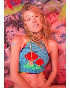 #DollsKill #Festival #Coachella #lookbook #photoshoot #model Magic #mushroom #crochet #crop #top #halter #cute #blue #rainbow #shrooms
