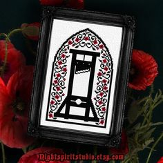Guillotine with Floral Motif Gothic Cross Stitch Pattern PDF - With Blood or Without Geek Cross Stitch, Cross Stitch Charts, Cross Stitch Designs, Cross Stitch Patterns, Naughty Cross Stitch, Cross Stitching, Cross Stitch Embroidery, Embroidery Patterns, Subversive Cross Stitches