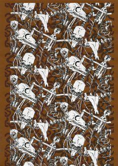 "Animal bones pattern screen print ""Bonefield"" Taxidermy print anatomical art animal skulls print bones print dark anatomy art cult art print"
