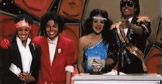 MICHAEL JACKSON is joined by his sistas LaToya, Janet and Rebbie as he has fun with fans in the audience at the 1984 Grammys