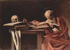 Caravaggio, Schrijvende Sint Hiëronymus, 1606, olieverf op doek, 112 x 157 cm, Galleria Borghese, Rome - Meer over dit schilderij: http://www.artsalonholland.nl/meesterwerken/caravaggio-schrijvende-hieronymus
