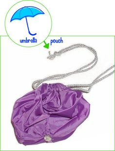 turn a broken umbrella into a little bag. this is so smart! i break umbrellas all the time. and the bag would be waterproof!!