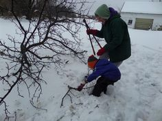Riley Friday two years ago -- he's helping his Mom-Mom clear branches after the big snow.