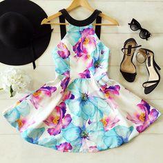 Fashion printed sleeveless dress