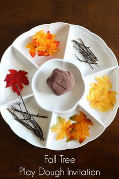 Fall play dough activity for preschoolers. Make a fall tree with play dough!
