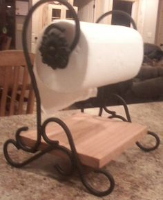 Handcrafted Wrought Iron Paper Towel Holder By Lazykwroughtiron 125 Oak Shelves