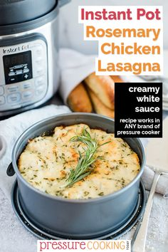 This Instant Pot Rosemary Chicken Lasagna is a fun twist on an Italian classic, made with a creamy white sauce, ground chicken, rosemary, and lots of cheese. Recipe works in any brand of pressure cooker, including the Ninja Foodi, Mealthy MultiPot, and Power Pressure Cooker XL. via @PressureCook2da