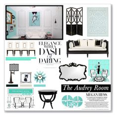 """""""The Audrey Room"""" by helleka ❤ liked on Polyvore featuring interior, interiors, interior design, home, home decor, interior decorating, Tiffany & Co., Belvedere, Howard Elliott and Jayson Home"""