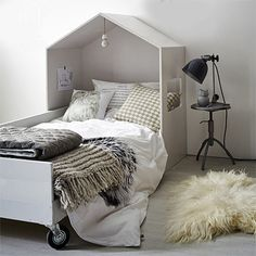 This trendy child's bed is made using PAR pine and particle board for the bed frame and has an MDF house frame above the top of the bed. You will find everything you need for this project at your local Builders store. http://www.easydiy.co.za/index.php/make/527-easy-diy-house-bed