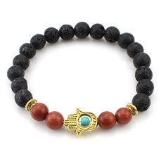 Silver Gold Color Fatima Hand Bracelet Bangle Hamsa Bracelet Black Lava Stone Evil Eye Amulet Bracelets For Men Women