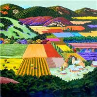 Space, color, landscape, Gene Brown Sunday Summer - Southwest Gallery: Not Just Southwest Art. Landscape Quilts, Landscape Art, Landscape Paintings, California College Of Arts, Southwest Art, Look Vintage, Naive Art, Mountain Landscape, Fine Art Gallery
