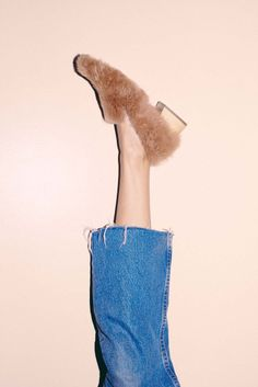 Frayed denim and fur