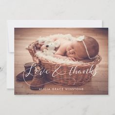 Elegant calligraphy Baby shower thank you card Baby Shower Thank You Cards, Custom Thank You Cards, Christening Invitations, Game Themes, Wedding Save The Dates, Christmas Card Holders, Anniversary Cards, Baby Pictures, Photo Cards