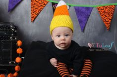 A crochet candy corn hat will keep your little one warm and offer her/him an adorable costume.