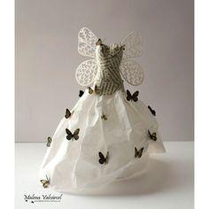 paper fairy dresses | Fairy Paper Dress - Paper Sculpture - Miniature Paper Dress