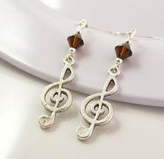 Music Earrings Brown Earrings Treble Clef by BeadBrilliant on Etsy, $16.00