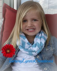Toddler/Girls Light Blue Chevron Infinity by tammylynnscreations