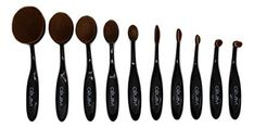 Celavi Oval Makeup Brush Professional Cosmetic Tools Kit for Face Eyes Lips Foundation Creams Liquids Moisturizer Powder Blush Concealer Contour 10 Piece Set >>> Don't get left behind, see this great product : Makeup Set Travel Makeup, Makeup Forever, Tool Kit, Concealer, Makeup Brushes, Contour, Makeup Tips, Sculpting, Moisturizer