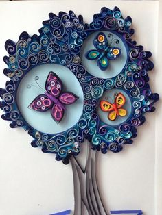 Quilled tree with butterflies