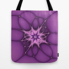 Lilac Ornament Fractal Tote Bag - printed Tote Bag with the Design on both Sides.