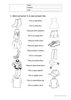 A collection of English ESL worksheets for home learning, online practice, distance learning and English classes to teach about clothes, clothes English Worksheets For Kids, English Activities, Vocabulary Activities, Speech Therapy Activities, Teaching Activities, English Lessons, Learn English, Clothes Worksheet, English Clothes