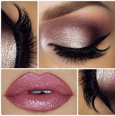 Gorgeous Pink Lips and Eye Makeup