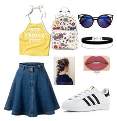 """""""Comic 90s"""" by oandreajw1914 on Polyvore featuring Hollister Co., Anya Hindmarch, Miss Selfridge, Smashbox and adidas"""