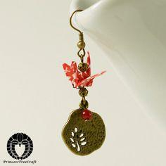 Kawaii Mini Washi Origami Crane Earrings  Red by PrincessTreeCraft, $18.00
