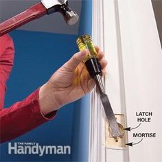 When houses settle, doors can settle with them, resulting in misaligned door latches. Fix it with a file, a chisel, and a dab of lipstick. Interior Door Installation, Rustic Kitchen Design, Home Fix, Diy Home Repair, Home Upgrades, Home Repairs, Home Improvement Projects, Diy Woodworking, Frames On Wall
