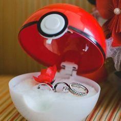 I CHOOSE YOU!! These Pokeball shaped ring boxes are the ideal way to help pop the question to your sweetheart. If they're a true Pokefan, they'll have a hard time saying no when you get down on one knee to reveal the goods inside!