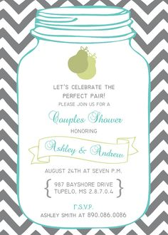 Printable Custom Personalized Couples Shower Invitation, Bridal or Wedding Shower, Perfect Pair, Become Mr. & Mrs.