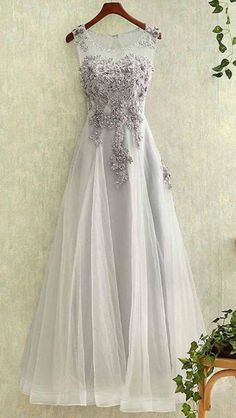 Round Neck Prom Dress,Cheap Prom Dress,Gray Prom Dresses,Tulle Prom Dress,A Line Evening Dresses,Lace Prom Dress,Applique Prom Gown,See-through Evening Gown,Long Prom Dresses