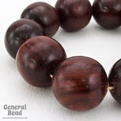 20mm Red Brown Round Wood Bead