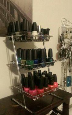 Nail polish organizer rack! $8 in walmart bath section!