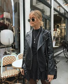 love the biker jacket with a feminine polka dot dress