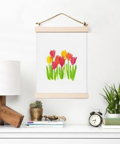 e489ceef47b3 Bright Tulips art print - colorful home decor and gift ideas Flowers Today,  Pineapple Art