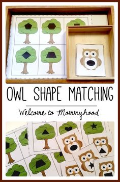 Free owl shape matching printable from Welcome to Mommyhood