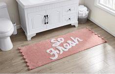 Pink so fresh bath mat - pink pom pom bath mat - 40 Cute Bath Mats That'll Freshen Up Your Bathroom and Make You Smile Pink Bathroom Rugs, Dorm Bathroom, Bathroom Runner Rug, Bath Rugs, Bright Bathrooms, Bathroom Ideas, Girl Bathroom Decor, College Bathroom, Bathroom Inspo