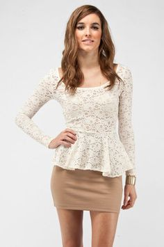 Lace Contrast Dress in Off White $35 at www.tobi.com