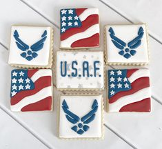 Air Force Cookies-America Cookies-One Dozen Air Force Gifts, Air Force Mom, Military Party, Military Cake, Military Retirement, Retirement Ideas, Air Force Wedding, Grooms Table, Welcome Home Parties