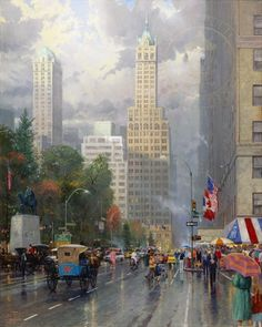 Masterpieces of colorful oil art. Enjoy these vivid sceneries of city streets.