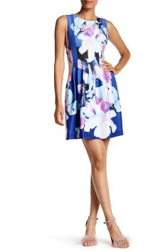 Printed Scuba Sleeveless Fit & Flare Dress by Vince Camuto on @HauteLook