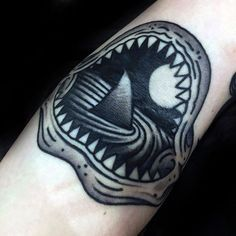 Shark Fin Inside Jaws Mens Old School Traditional Forearm Tattoo