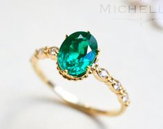 14K/18K Anna Emerald Engagement Ring Square by MichelliaDesigns